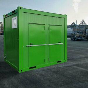 WC-Container Sanitär-Container grüne Lackierung